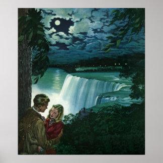 Vintage Honeymoon Love, Newlyweds at Niagara Falls Poster