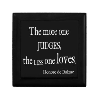 Vintage Honore Balzac More Judge Less Love Quote Gift Box