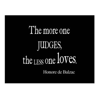 Vintage Honore Balzac More Judge Less Love Quote Postcard
