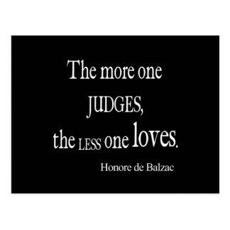Vintage Honore Balzac More Judge Less Love Quote Postcard