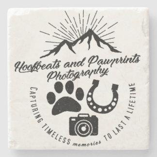 Vintage Hoofbeats and Pawprints Logo Stone Beverage Coaster