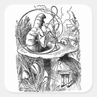 Vintage Hookah Smoking Caterpillar with Alice Square Stickers