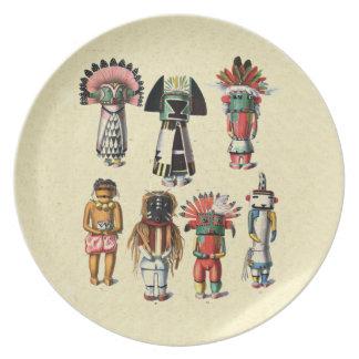 Vintage Hopi Kachinas Native American Plate