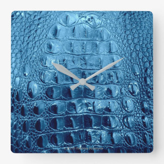 """VINTAGE """"HORNBACK"""" ALLIGATOR LEATHER BLUE WATERS SQUARE WALL CLOCK"""