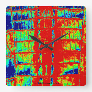 """VINTAGE """"HORNBACK"""" ALLIGATOR LEATHER CALYPSO PARTY SQUARE WALL CLOCK"""