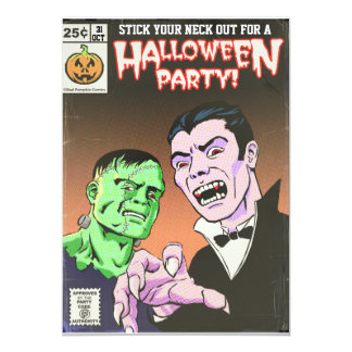 Vintage Horror Comic Halloween Party Invitation