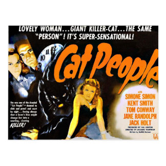 Vintage Horror Poster Cat People Post Card