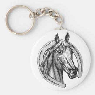 Vintage Horse and Horseshoe Keychain