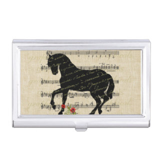 Vintage Horse and Music Sheet Business Card Holder