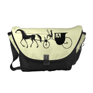 Vintage Horse Carriage black and white pen ink art Commuter Bag