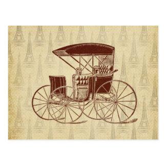 Vintage Horse Carriage in Paris Postcard