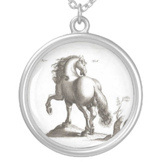 Vintage Horse Drawing Silver Plated Necklace