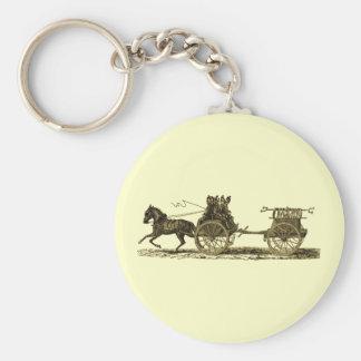 Vintage Horse Drawn Fire Engine Illustration Basic Round Button Keychain