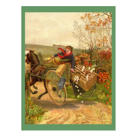 Vintage Horse Drawn Wagon Postcard