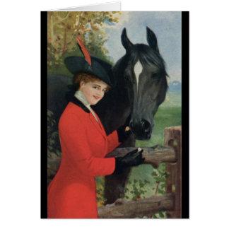 Vintage Horse Girl Red Coat Equestrian Sugar Cube Card