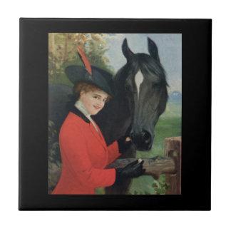 Vintage Horse Girl Red Riding Jacket Tile