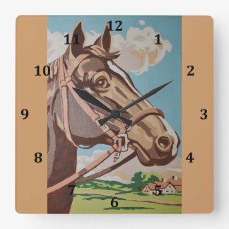 Vintage Horse Head Painting Square Wall Clock