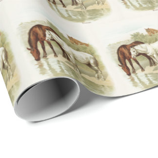 Vintage Horse lovers party tiled wrap Wrapping Paper