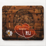 vintage horse shoe hearts western country initials mouse pad