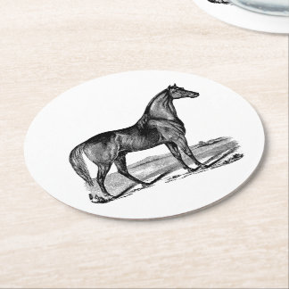 Vintage Horse Standing Round Paper Coaster