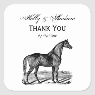 Vintage Horse Standing Square Sticker
