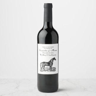 Vintage Horse Standing Wine Label