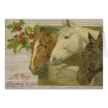 Vintage Horses Merry Christmas Greeting Card