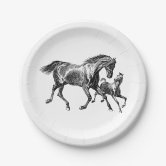 Vintage Horses Mother Baby Foal 7 Inch Paper Plate