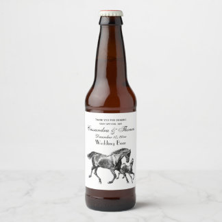 Vintage Horses Mother Baby Foal Beer Bottle Label