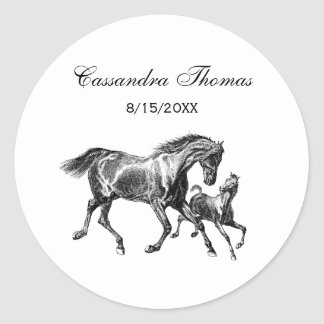 Vintage Horses Mother Baby Foal Classic Round Sticker