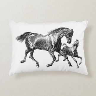 Vintage Horses Mother Baby Foal Decorative Pillow