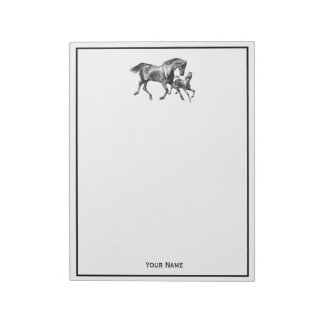 Vintage Horses Mother Baby Foal Notepad