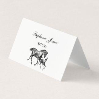 Vintage Horses Mother Baby Foal Place Card