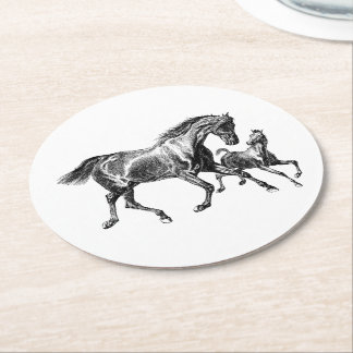 Vintage Horses Mother Baby Foal Round Paper Coaster