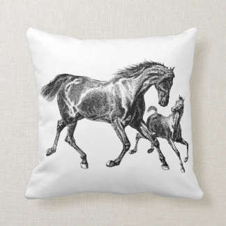 Vintage Horses Mother Baby Foal Throw Pillow