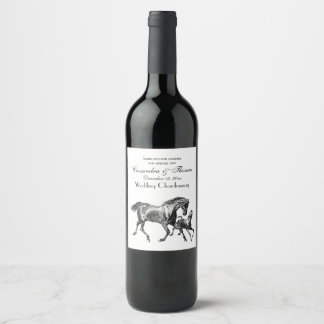 Vintage Horses Mother Baby Foal Wine Label