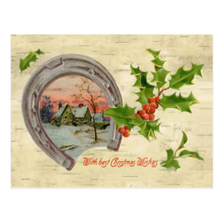 Vintage Horseshoe Holly Christmas Postcard