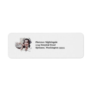 Vintage Hospital Nurse on Telephone Retro Custom Return Address Label