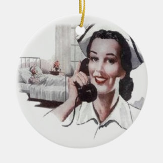 Vintage Hospital Ward Nurse on Telephone Ceramic Ornament