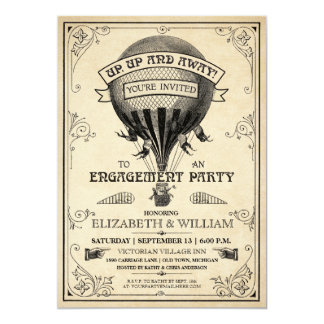 Vintage Hot Air Balloon Engagement Party Invite