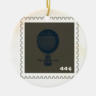 Vintage Hot Air Balloon Stamp Round Ceramic Ornament