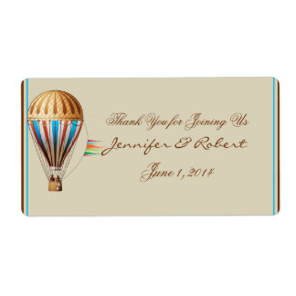 Vintage Hot Air Balloon Water Bottle Label Shipping Label