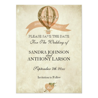 Vintage Hot Air Balloon Wedding Save The Date Card