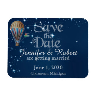 Vintage Hot Air Balloon Wedding Save the Date Magnet