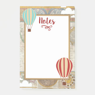 Vintage Hot Air Balloons & Clouds Adventure Post-it Notes