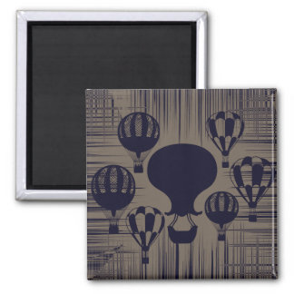 Vintage Hot Air Balloons Distressed Grunge Magnet