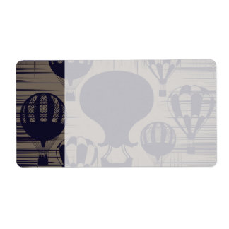 Vintage Hot Air Balloons Distressed Grunge Shipping Label