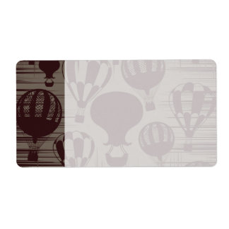 Vintage Hot Air Balloons Grunge Brown Maroon Shipping Label