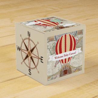 Vintage Hot Air Balloons World Map Baby Shower Favor Box