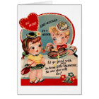Vintage Hot Dog and Mustard Valentine Card